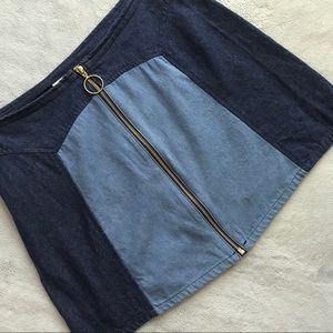 Lykke Wullf Monica Two-Tone Denim Zip Skirt Large